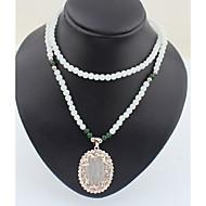 女性用 チョーカー ペンダントネックレス レイヤードネックレス 模造ダイヤモンド 楕円形 ラインストーン 合金 ベーシック ラインストーン 自然 友情 ブリティッシュ ビンテージ クリスマス 調整可能 クラシック 愛らしいです あり Rock 宗教的なジュエリー
