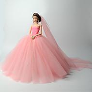 abordables -Boda Vestidos por Barbiedoll Organdí Vestido por Chica de muñeca de juguete