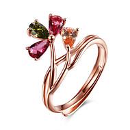 Жен. манжета кольцо Цветочный дизайн Цветы Цветочный принт Стерлинговое серебро Хрусталь Позолоченное розовым золотом В форме цветка