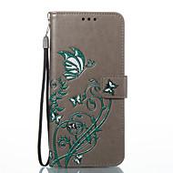 Недорогие Чехлы и кейсы для Galaxy S2-Кейс для Назначение SSamsung Galaxy S8 Plus S8 Бумажник для карт Кошелек со стендом Флип С узором Рельефный Чехол Бабочка Твердый Кожа PU
