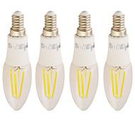 halpa LED-kynttilälamput-4W 350 lm C37 4 ledit COB Lämmin valkoinen AC 85-265V