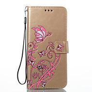 Недорогие Чехлы и кейсы для Galaxy S2-Кейс для Назначение SSamsung Galaxy S8 Plus S8 Бумажник для карт Кошелек со стендом Флип Рельефный Чехол Бабочка Цветы Твердый Кожа PU для