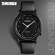 SKMEI Men's Dress Watch Fashion Watch Japanese Quartz Water Resistant / Water Proof Genuine Leather Band Charm Casual Cool Black Brown
