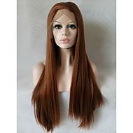 abordables Pelucas-Pelo sintético pelucas Corte Recto Encaje Frontal Peluca natural Media Larga Marrón