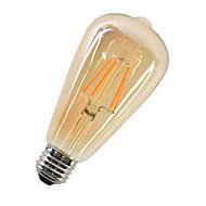 4W E27 LED Filament Bulbs ST64 4 leds COB Decorative Warm White 360lm 2700-3000K AC 220-240V