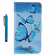 Voor case cover patroon full body case met stylus vlinder hard pu leer voor appel ipod touch 5 touch 6