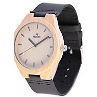 お買い得  -男性用 腕時計 ウッド 日本産 クォーツ 木製 本革 バンド Elegant ブラック