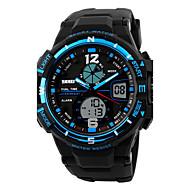 Недорогие Фирменные часы-SKMEI Муж. Спортивные часы электронные часы Цифровой Календарь Защита от влаги С двумя часовыми поясами тревога PU Группа Cool Черный