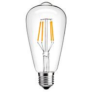 1pcs 4W E26/E27 LED Filament Bulbs ST64 4 COB 360lm Warm White Cold White 2300-6000K Decorative AC220-240V 1pc