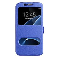 Недорогие Чехлы и кейсы для Galaxy S8 Plus-Кейс для Назначение SSamsung Galaxy S8 Plus S8 с окошком Чехол Сплошной цвет Твердый Кожа PU для S8 Plus S8 S7 edge S7 S6 edge plus S6
