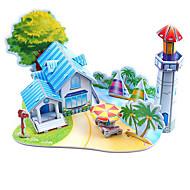 preiswerte Spielzeuge & Spiele-3D - Puzzle Holzpuzzle Strand Spielzeug Modellbausätze Berühmte Gebäude Heimwerken Hartkartonpapier Klassisch Anime Zeichentrick