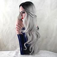Vrouw Synthetische pruiken Lang Body Golf Grijs Natuurlijke haarlijn Donkere wortels Natuurlijke pruik Kostuumpruiken