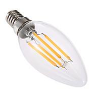 お買い得  LED キャンドルライト-YWXLIGHT® 4W 300-400lm E14 LEDキャンドルライト C35 4 LEDビーズ COB 調光可能 装飾用 温白色 220-240V