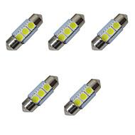 5 adet çift uçlu led ışıklar 31mm 1w 3smd 5050 çip 80-100lm 6500-7000k dc12v okuma lambası plaka ışıkları