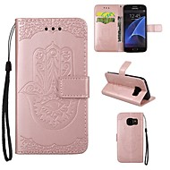Case Kompatibilitás Samsung Galaxy S7 edge S7 Kártyatartó Pénztárca Állvánnyal Flip Dombornyomott Teljes védelem Más Kemény Műbőr Bőr mert