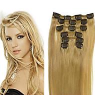 스트레이트 클립 인 인간의 머리카락 확장 7PCS / 팩 70g / 팩 #12 #24 #30 표백제 금발 Burgundy 18 인치 20 인치 22 인치