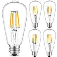 4W E27 LED Filament Bulbs ST64 4 leds COB Decorative Warm White Cold White 360lm 2700-6500K AC 220-240V