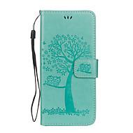 Недорогие Чехлы и кейсы для Galaxy S8 Plus-Кейс для Назначение SSamsung Galaxy S8 Plus S8 Бумажник для карт Кошелек со стендом Флип Рельефный Чехол дерево Сова Твердый Кожа PU для