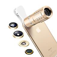 Lentille de téléphone portable Lentille avec Filtre Lentille Fish-Eye Longue Distance Focale Lentille Grand Angle Objectif Macro Alliage