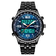 Недорогие Фирменные часы-SKMEI Муж. Наручные часы Японский Кварцевый 30 m Защита от влаги Календарь Секундомер PU Группа Аналого-цифровые Нарядные часы Черный - Черный Синий / С двумя часовыми поясами / Хронометр