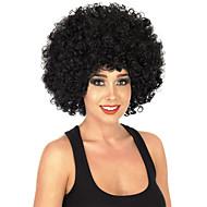 olcso -Szintetikus parókák Sapka nélküli Közepes Göndör Jet Black Fekete hölgyeknek Afro-amerikai paróka Jelmez paróka jelmez paróka