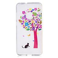Недорогие Чехлы и кейсы для Huawei Honor-Кейс для Назначение Huawei P9 Lite Huawei Huawei P8 Lite IMD Прозрачный С узором Кейс на заднюю панель Кот дерево Мягкий ТПУ для P10 Lite