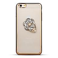 Назначение iPhone 6 iPhone 6 Plus Чехлы панели Стразы Покрытие Кольца-держатели Прозрачный Задняя крышка Кейс для Цветы Мягкий