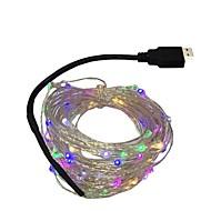abordables Luces de Regalo-10m Cuerdas de Luces 100 LED Diodo LED Blanco Cálido / Blanco / Azul Impermeable / Fiesta / Decorativa 5 V 1pc / IP44