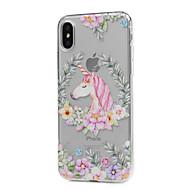 Назначение iPhone X iPhone 8 iPhone 8 Plus Чехлы панели Ультратонкий Прозрачный С узором Задняя крышка Кейс для единорогом Цветы Мягкий