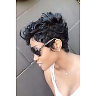 お買い得  -人工毛ウィッグ カール スタイル キャップレス かつら ブラック ブラック 合成 女性用 ブラックアメリカン風ウィッグ ブラック かつら ショート MAYSU ナチュラルウィッグ