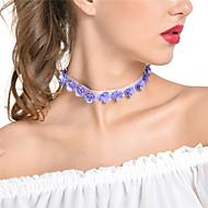 Dam Chokerhalsband Kedje Halsband Blomma Form Flanell Legering Sexig Handgjord Smycken Till Party Dagligen