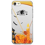 Недорогие Кейсы для iPhone 8 Plus-Кейс для Назначение Apple iPhone X iPhone 8 Прозрачный С узором Кейс на заднюю панель Слова / выражения Halloween Мультипликация Мягкий