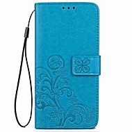 Недорогие Чехлы и кейсы для Galaxy Note 8-Кейс для Назначение SSamsung Galaxy Note 8 Note 5 Бумажник для карт Кошелек со стендом Флип Магнитный С узором Рельефный Чехол Цветы