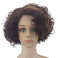 halpa -Synteettiset peruukit Kihara Tiheys Suojuksettomat Naisten Ruskea Juhlaperuukki Luonnollinen peruukki Keskikokoinen Synteettiset hiukset