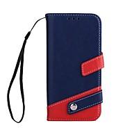 Кейс для Назначение SSamsung Galaxy A5(2017) A3(2017) Кошелек Бумажник для карт со стендом Чехол Сплошной цвет Твердый Искусственная кожа