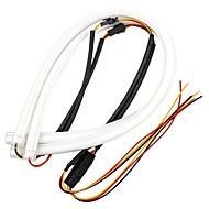 ziqiao 2pcs 60cm drl 유연한 주도 튜브 스트립 스타일 낮 실행 조명 눈물 스트립 자동차 헤드 라이트 차례 신호등 주차 램프