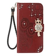 Case For Samsung Galaxy J7 (2017) J3 (2017) Wallet Card Holder Rhinestone with Stand Flip Embossed Pattern Full Body Owl Hard PU Leather