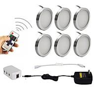 お買い得  -6pcs 2w dimmableは家具の照明のための無線rfリモートコントロールとキャビネットのパックのライトの下で導かれた85-265v