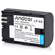 andoer lp-e6 uppladdningsbar ersättning kamera videokamera li-ion litium batteri fullt kodad 1800mah hög kapacitet för Canon EOS 5D mark
