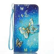 hoesje Voor Samsung Galaxy Portemonnee Kaarthouder met standaard Flip Patroon Magnetisch Volledige behuizing Vlinder Hard PU-leer voor J7
