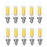10pcs 6W E14 LED Filamnent Bulbs C35 6 COB 560LM Warm/Cool White Color Edison Blunt AC220-240V