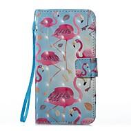 для чехлов крышка держатель карты кошелек с подставкой флип магнитный рисунок полный футляр для тела фламинго твердая кожа pu для