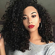 Synthetic Wig Curly With Bangs Synthetic Hair Black Wig Women's Medium Length Capless Natural Black