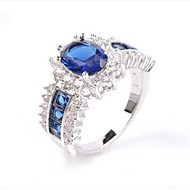 Women's Band Rings Synthetic Sapphire Fashion Elegant Copper Silver Plated Circle Jewelry For Party Date