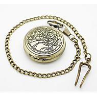 رخيصةأون -للرجال ساعة جيب ساعة قلادة كوارتز نقش جوفاء فرقة قديم فضة
