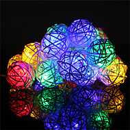 cheap LED String Lights-HKV String Lights 20 LEDs Warm White RGB+Warm Remote Control / RC Color-Changing 220-240V