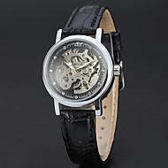 abordables Relojes Mecánicos-WINNER Mujer Reloj de Pulsera Reloj de Vestir Reloj de Moda Cuerda Automática Huecograbado Piel Banda Vintage Casual Elegant Negro