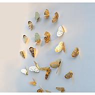 preiswerte -3d schmetterling wandtattoos aufkleber dekorationen gold aushöhlen 12 stücke butterflie