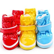Cat Dog Shoes & Boots Flats Boots Casual/Daily Keep Warm Waterproof Solid Blue Red Yellow
