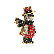 cheap Christmas Jewelry-Men's / Women's Brooches - Zircon, Gold Plated Brooch Assorted Color For Christmas / New Year